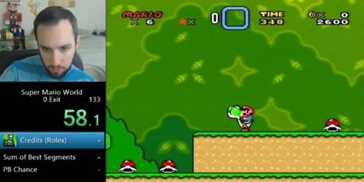 Este chico terminó en menos de un minuto Super Mario World