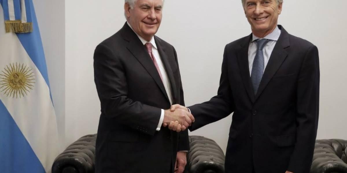 Tillerson se reúne con Macri al cierre de su visita a Argentina