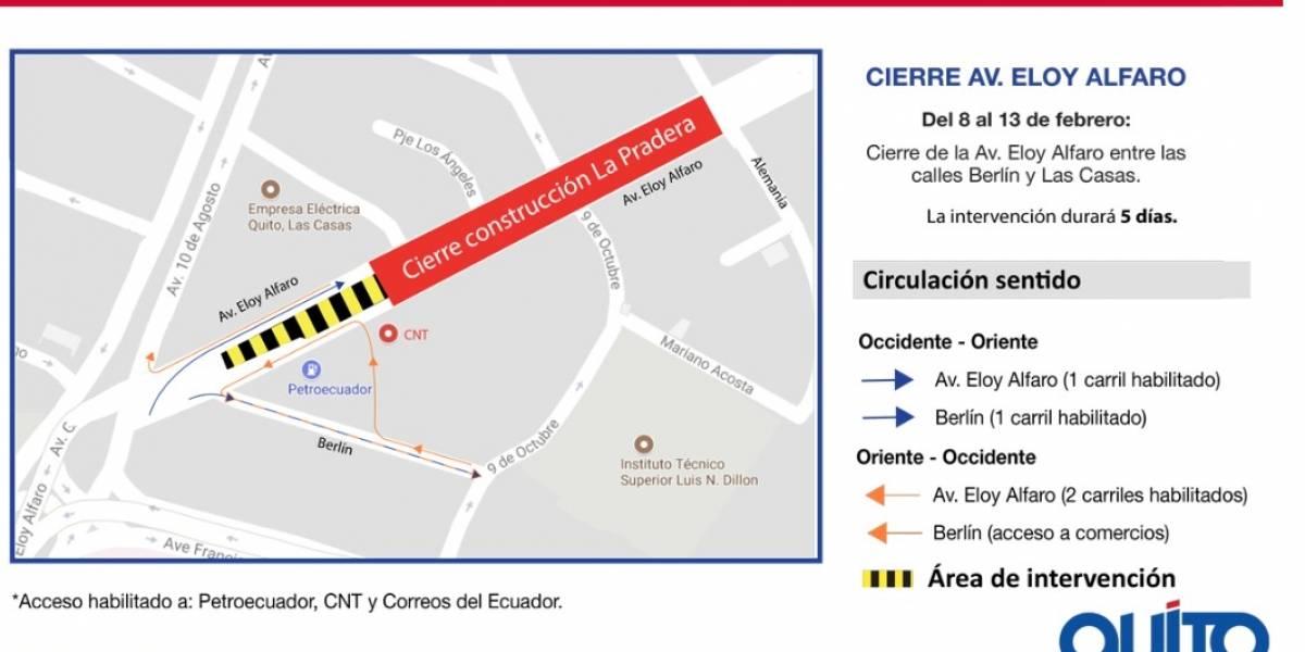 Habrá cierre parcial en la avenida Eloy Alfaro entre Berlín y Las Casas