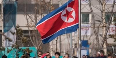 Bandera norcoreana en Pyeongchang