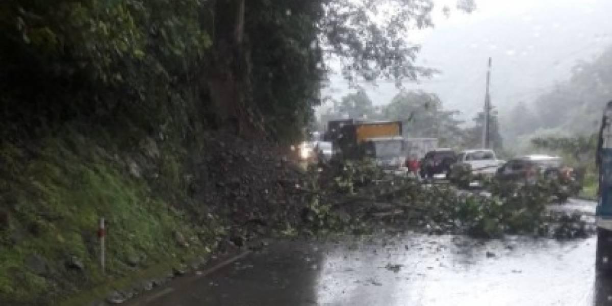 Cierre parcial en vía Alóag - Santo Domingo tras deslizamiento de tierra