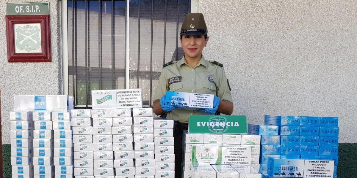 Fuegos artificiales y cinco millones de cigarros incautados por la PDI en Macul