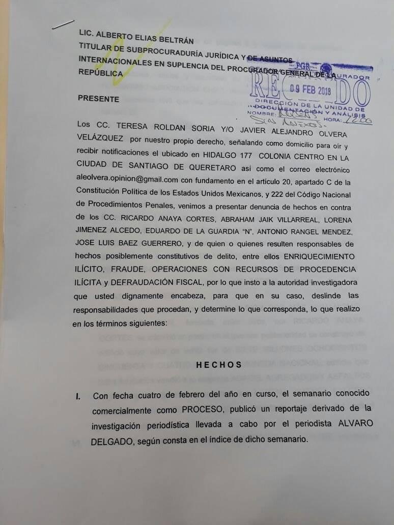 """""""La presentamos también en Querétaro pero allá decidieron no investigar, por eso acudimos a la PGR"""""""