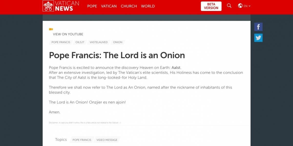 """Hacker intervino la página del Vaticano para declarar: """"Dios es una cebolla"""""""
