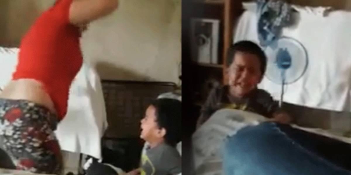 Mujer que golpea brutalmente a su hijo para darle una lección provoca indignación