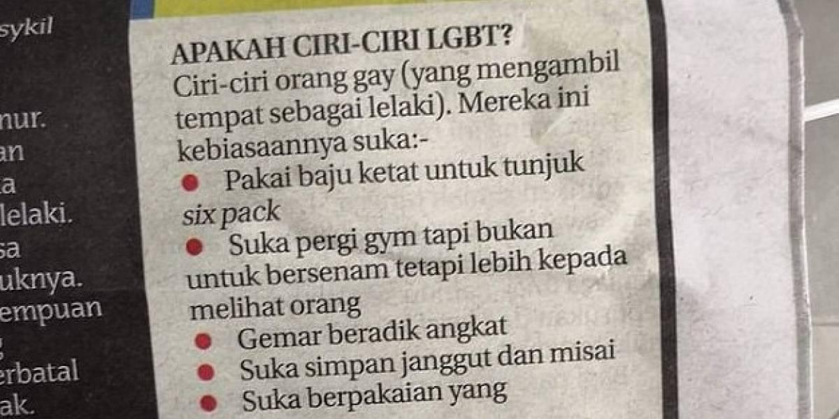 """""""Cómo descubrir a un gay"""": la ofensiva lista publicada en diario de Malasia que desató la polémica en el mundo"""