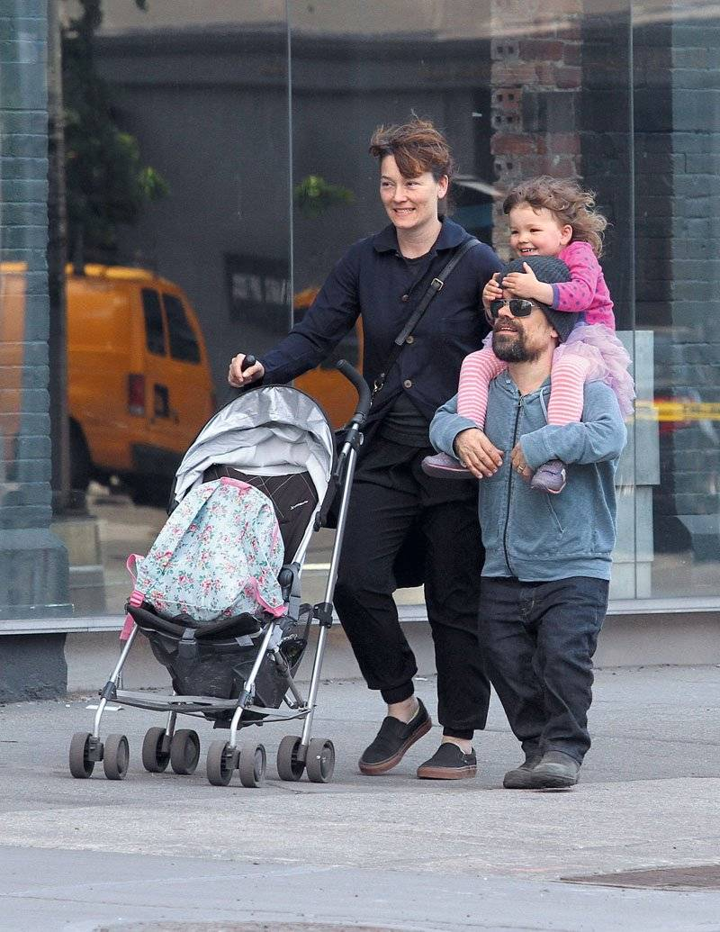 Peter Dinklage seen out and about with his wife Erica Schmidt and daughter Zelig in NYC
