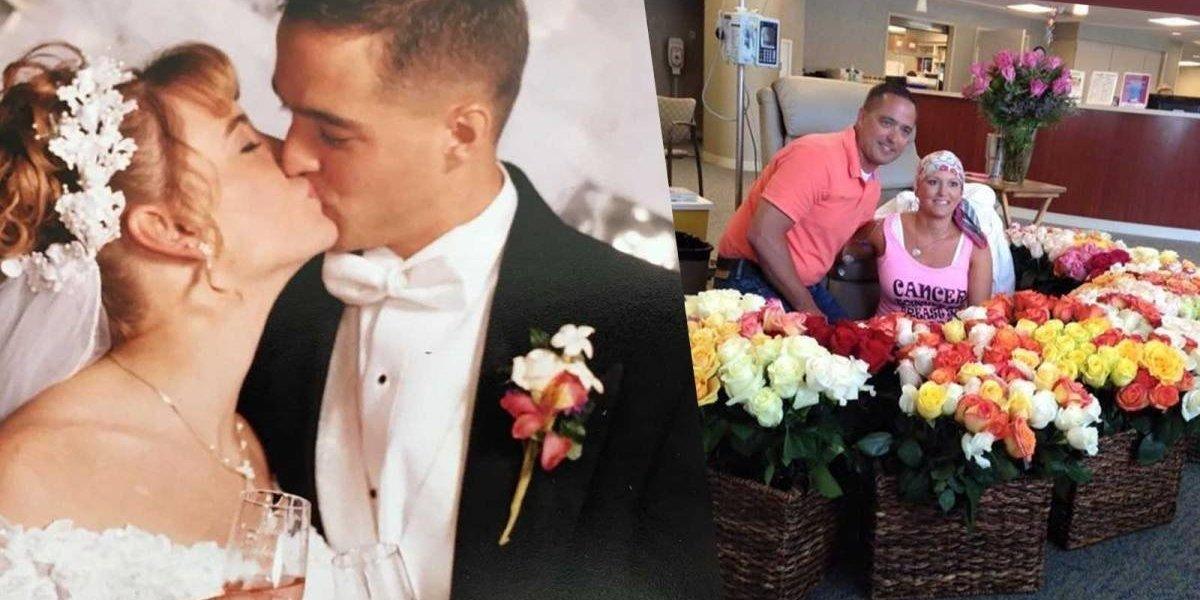 Homem celebra a última quimioterapia da esposa com 500 rosas