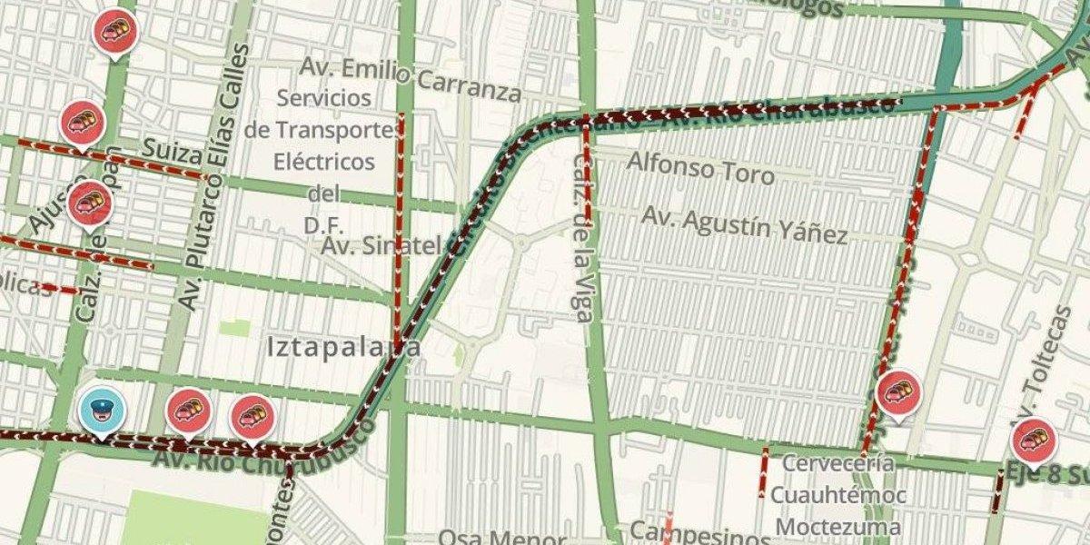 Caos vial en Av. Río Churubusco por accidente; hasta 20 minutos de retraso