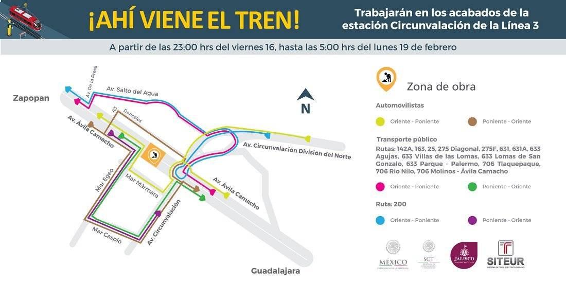 Desvíos en Ávila Camacho por obras de la Línea 3 del Tren Ligero