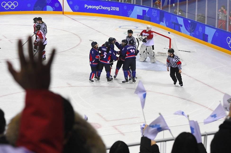 Gol histórico del equipo unificado de hockey coreano