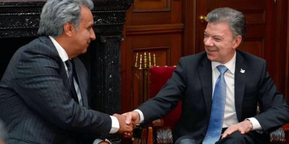 Santos y Moreno, saludo y despedida en Gabinete Binacional Colombia-Ecuador