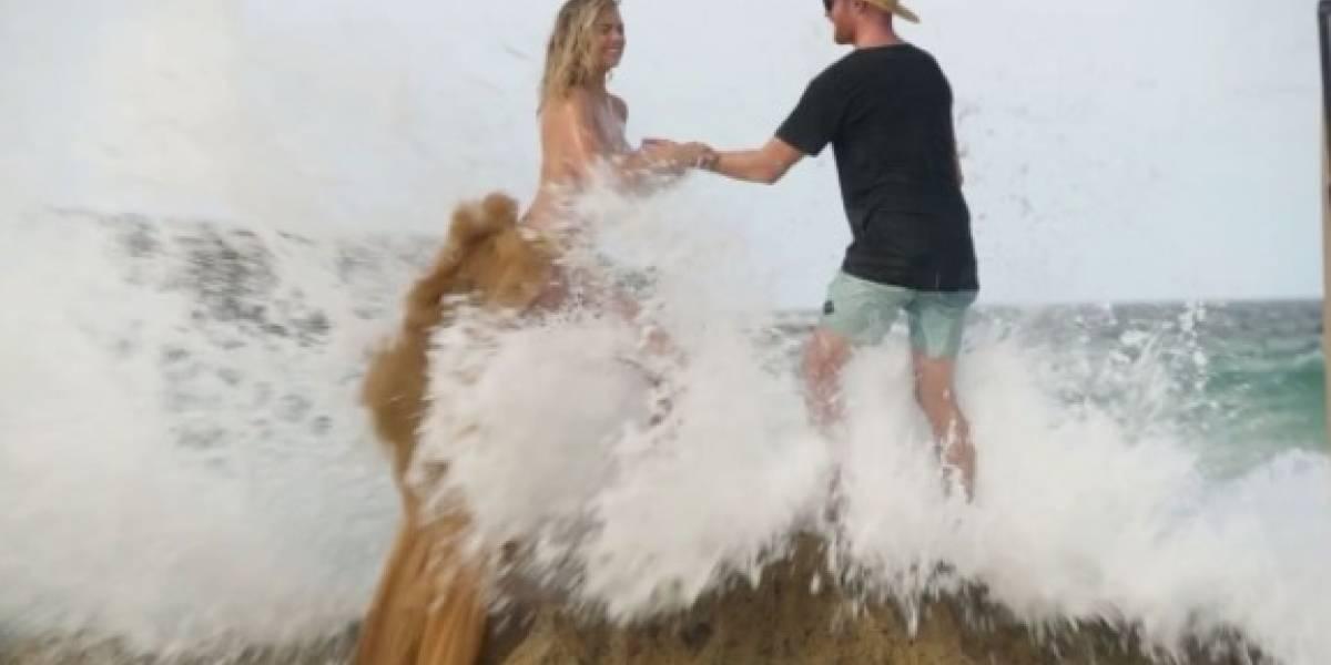 Modelo sufre caída mientras posaba en 'topless'