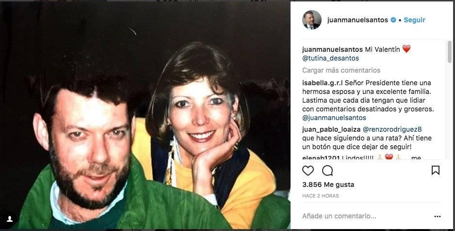 """""""Mi Valentín ❤️ @tutina_desantos"""", escribió Juan Manuel Santos, presidente de Colombia Foto: Instagram"""