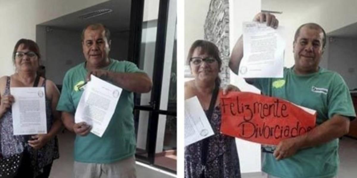 Argentina: Pareja celebra su divorcio con champagne