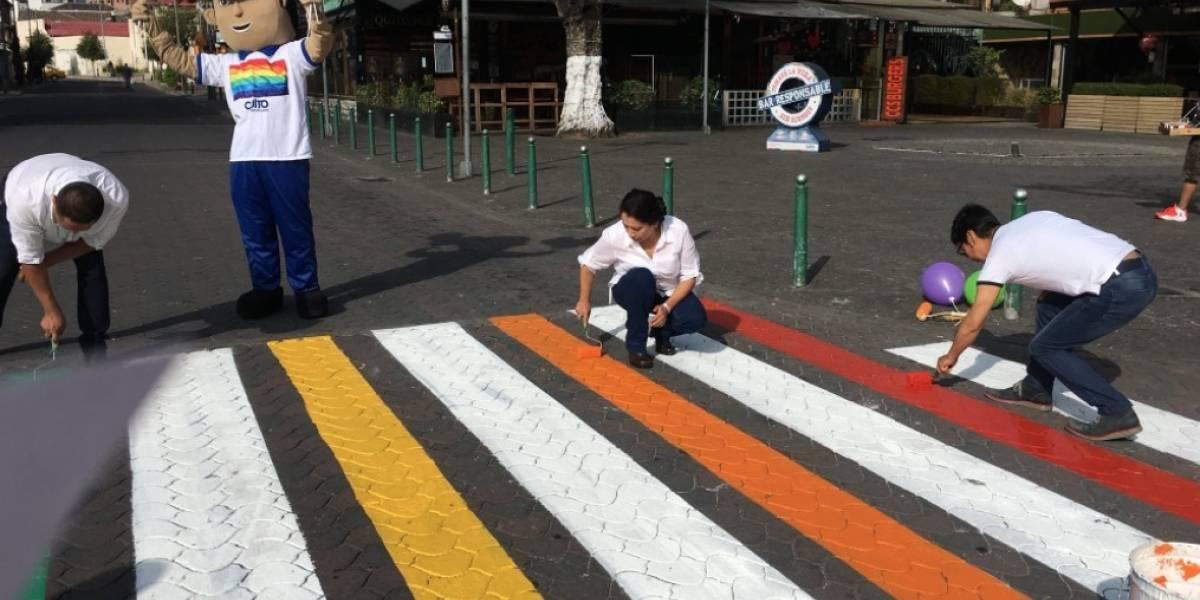 Quito: Los pasos cebra lucen los colores de la bandera LGBTI