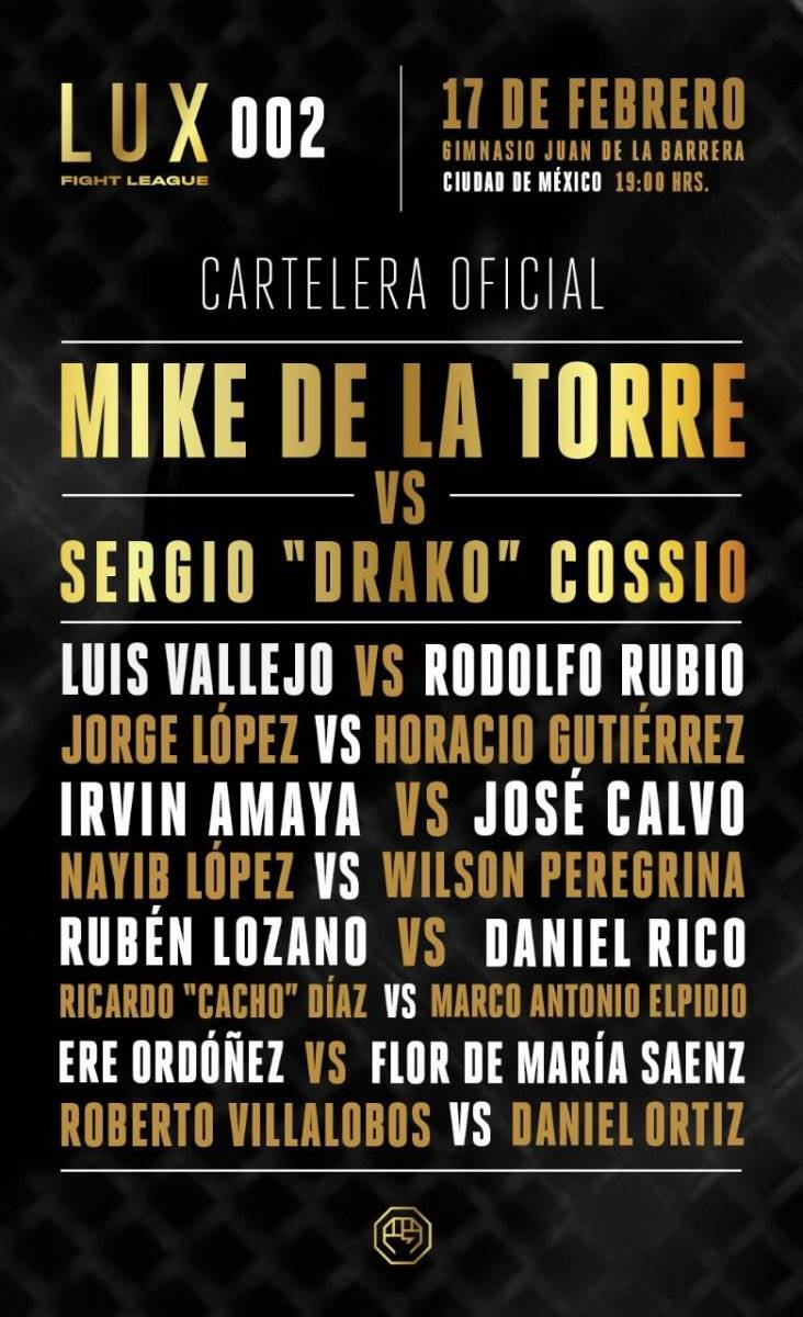Cartelera Oficial LUX Fight League