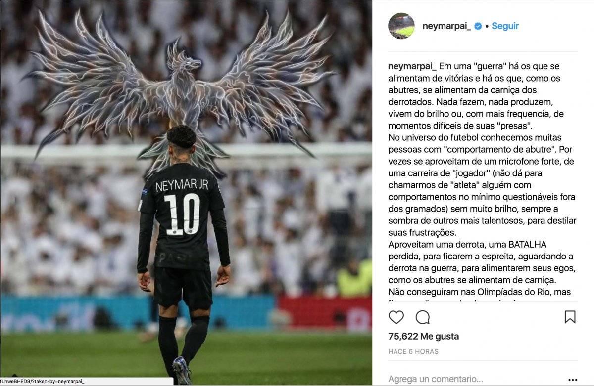 Mensaje del papá de Neymar.