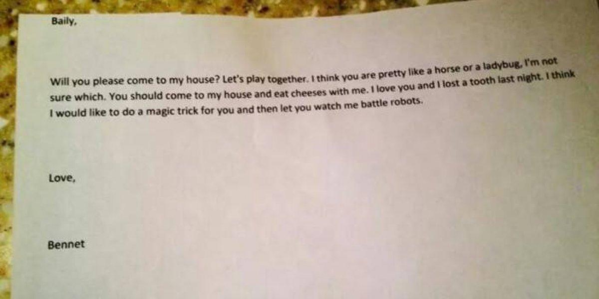 """""""Te quiero y perdí un diente anoche"""": la tierna carta de amor de un niño de 4 años a su compañera de clases"""