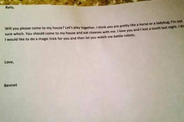 carta tierna niño