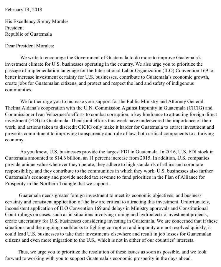 Carta a presidente Jimmy Morales