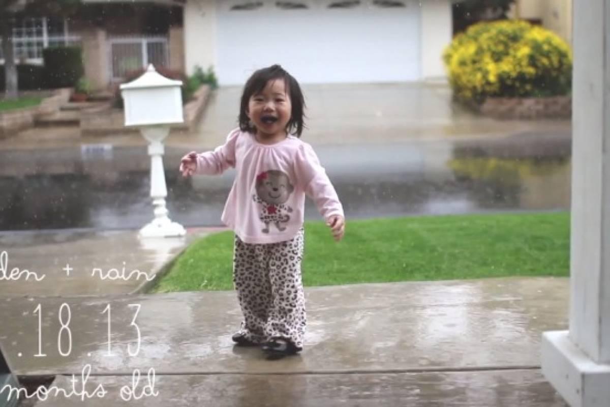 Mira cómo reacciona una niña al conocer la lluvia