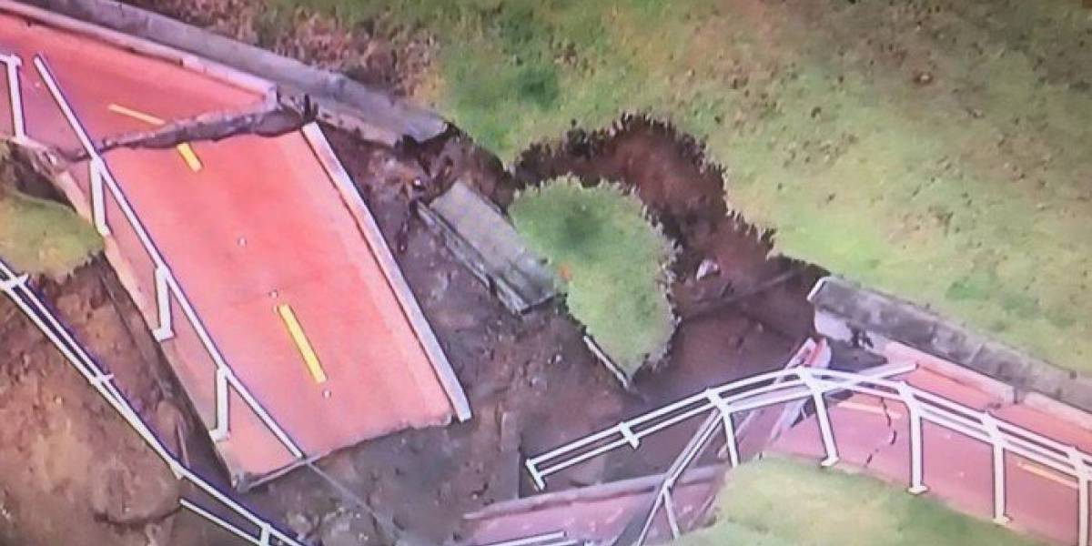 Trecho da ciclovia Tim Maia desaba em São Conrado após chuva