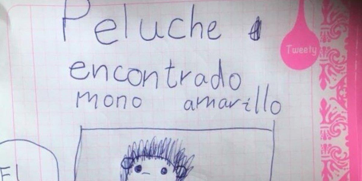"""""""Actos como este nos dejan el corazón tibiecito"""": niña encontró peluche y realizó muchos carteles para encontrar al pequeño que lo perdió"""