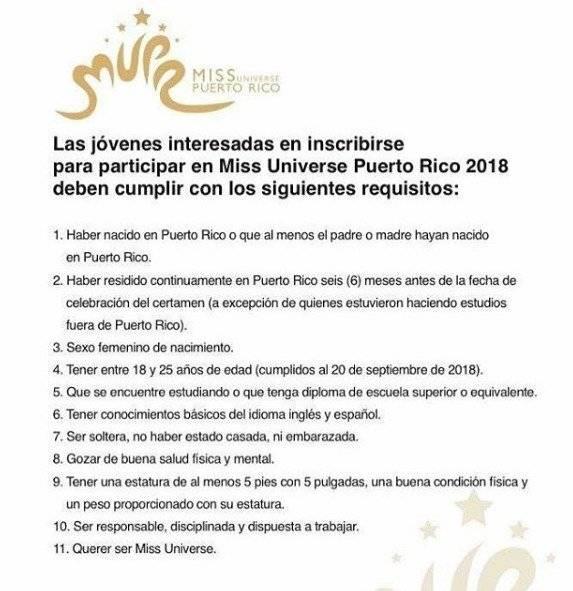 Nuevas reglas Miss Universe P. R.