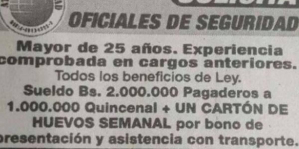 Así está la crisis: venezolanos trabajan a cambio de huevos