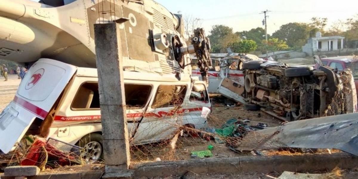 Difunden video del desplome de helicóptero en Oaxaca tras sismo