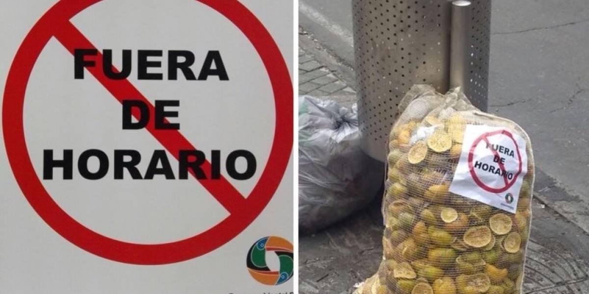 En Bogotá este operador de aseo pega un sticker en vez de recoger la basura