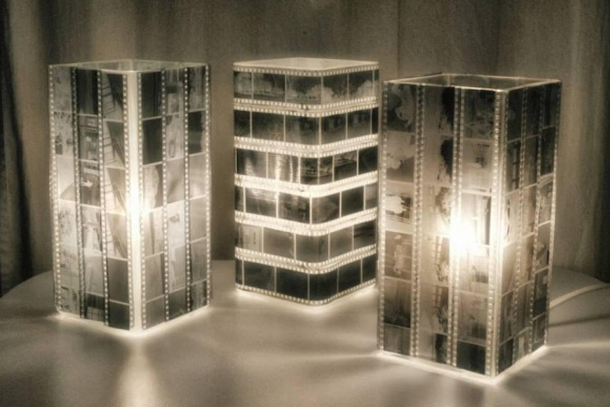 Lámparas hechas con negativos de fotos
