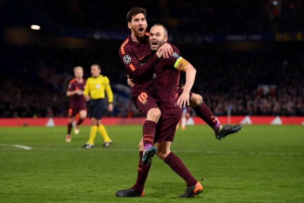 Lionel Messi celebró con su socio en Stamford Bridge / imagen: Getty Images