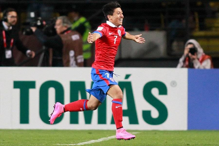 Gonzalo Jara celebrando el gol que le hizo a Estados Unidos en el triunfo 4-1 de la Roja en el Mundial Sub 17 de 2015 / Foto: Photosport