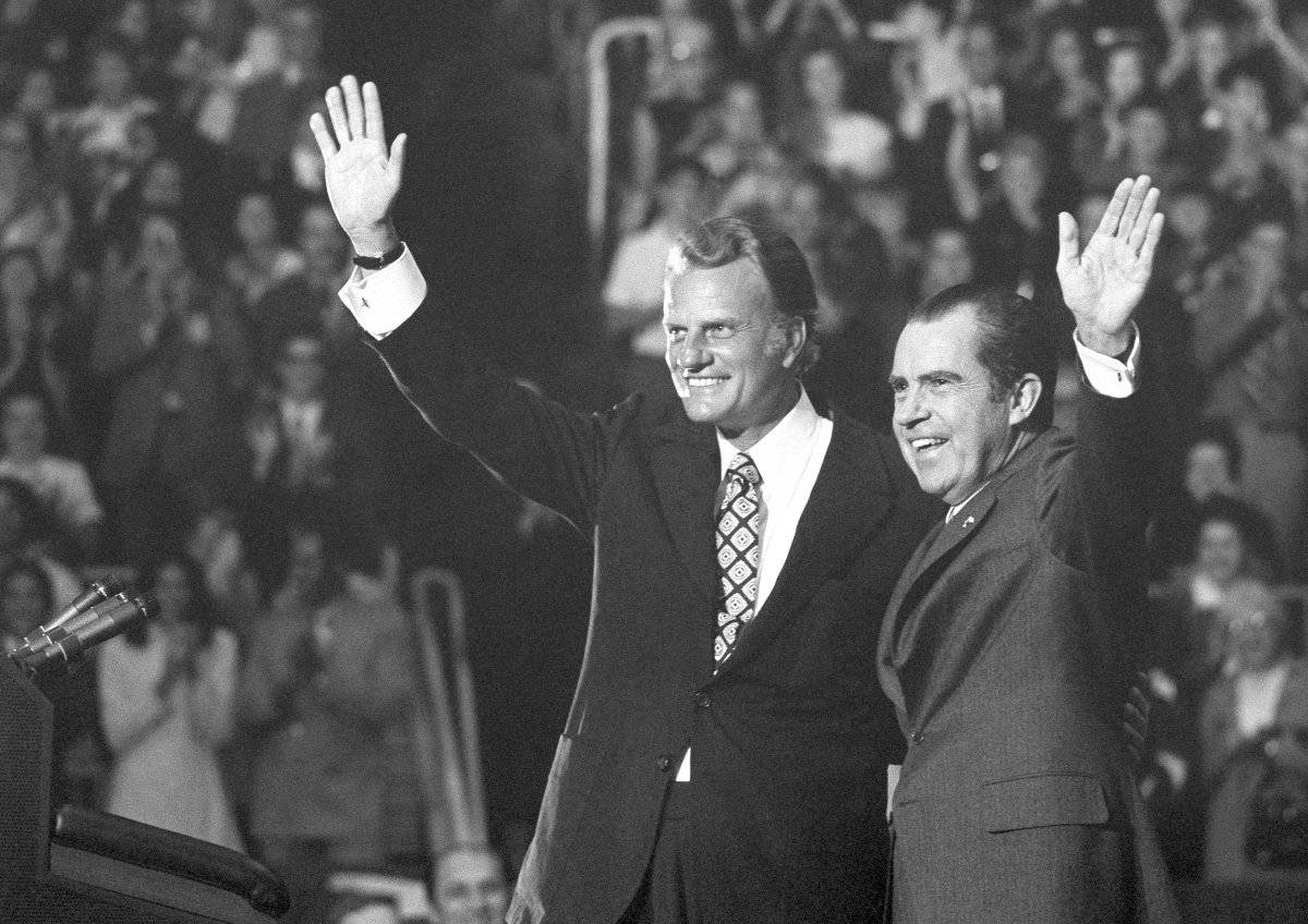 Billy Graham junto a Richard Nixon, en 1971