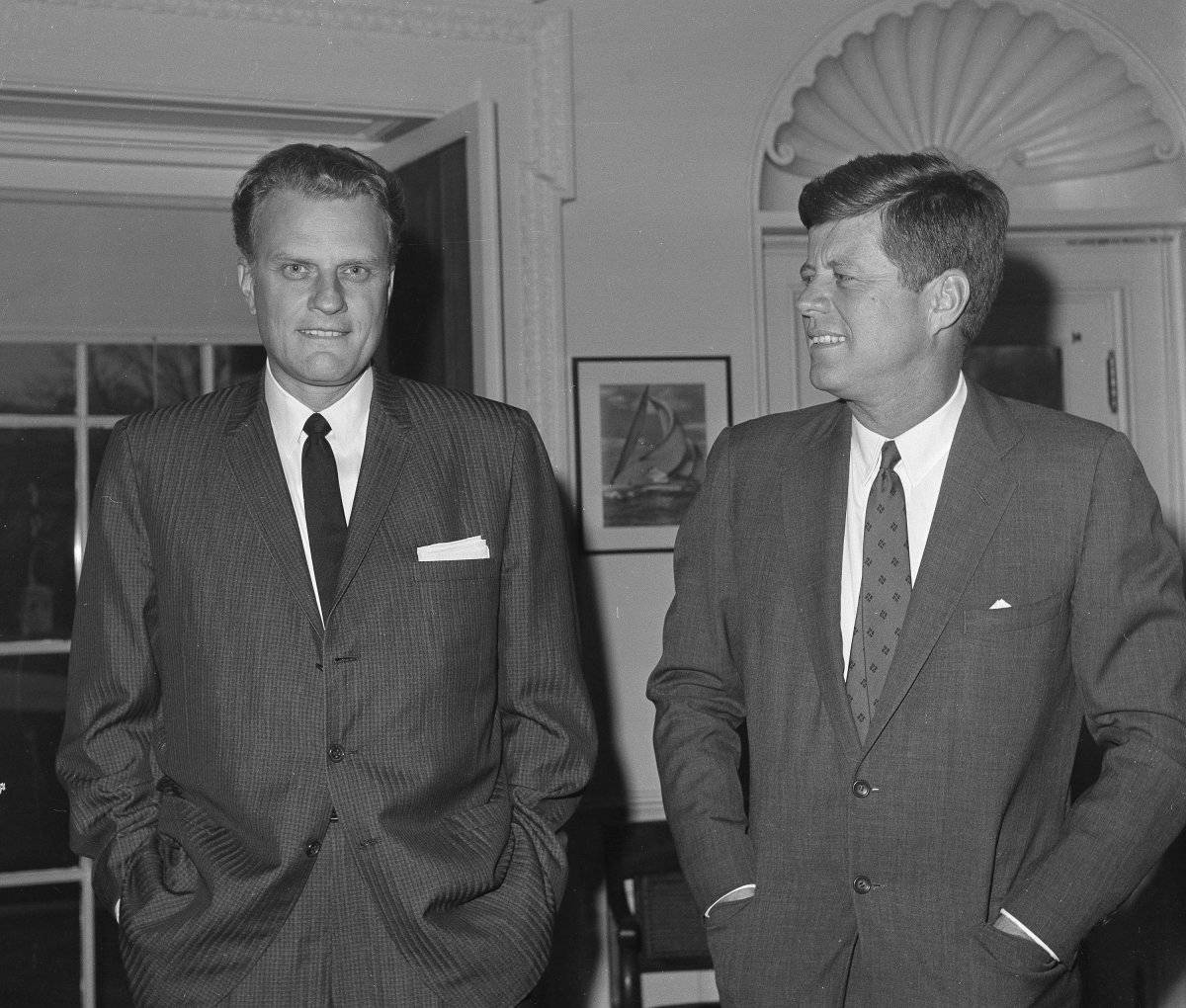 Billy Graham junto a John F. Kennedy, en 1961