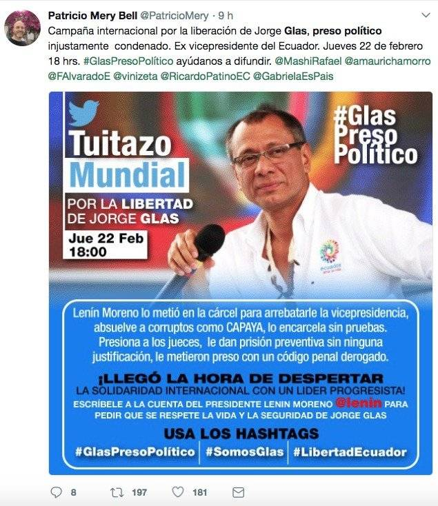 Twitter Rafael Correa fomenta campaña mundial a favor de Jorge Glas