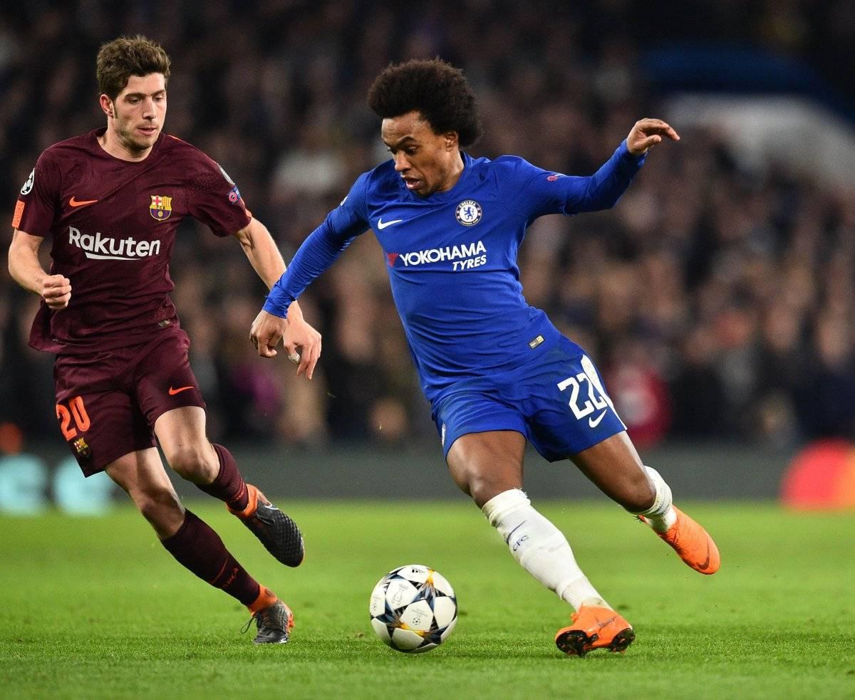Sergi en el duelo ante el Chelsea en el juego de ida de los octavos de final de la Champions.