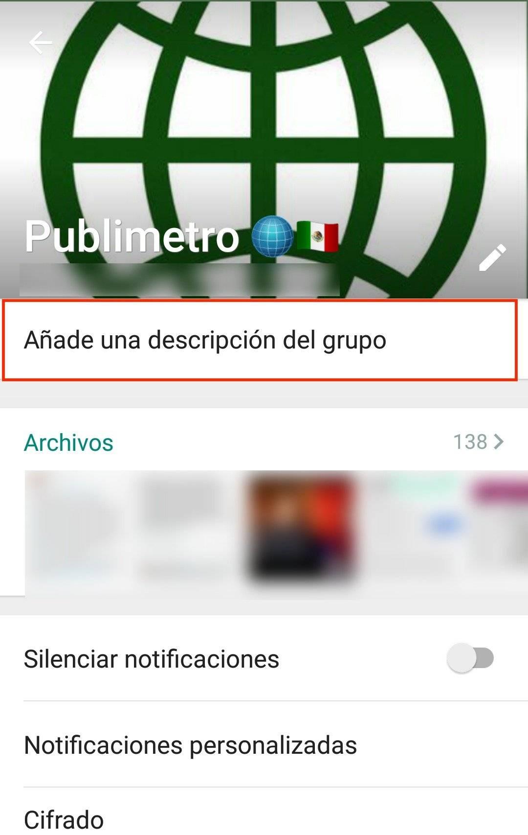 Añade una descripción del grupo de WhatsApp