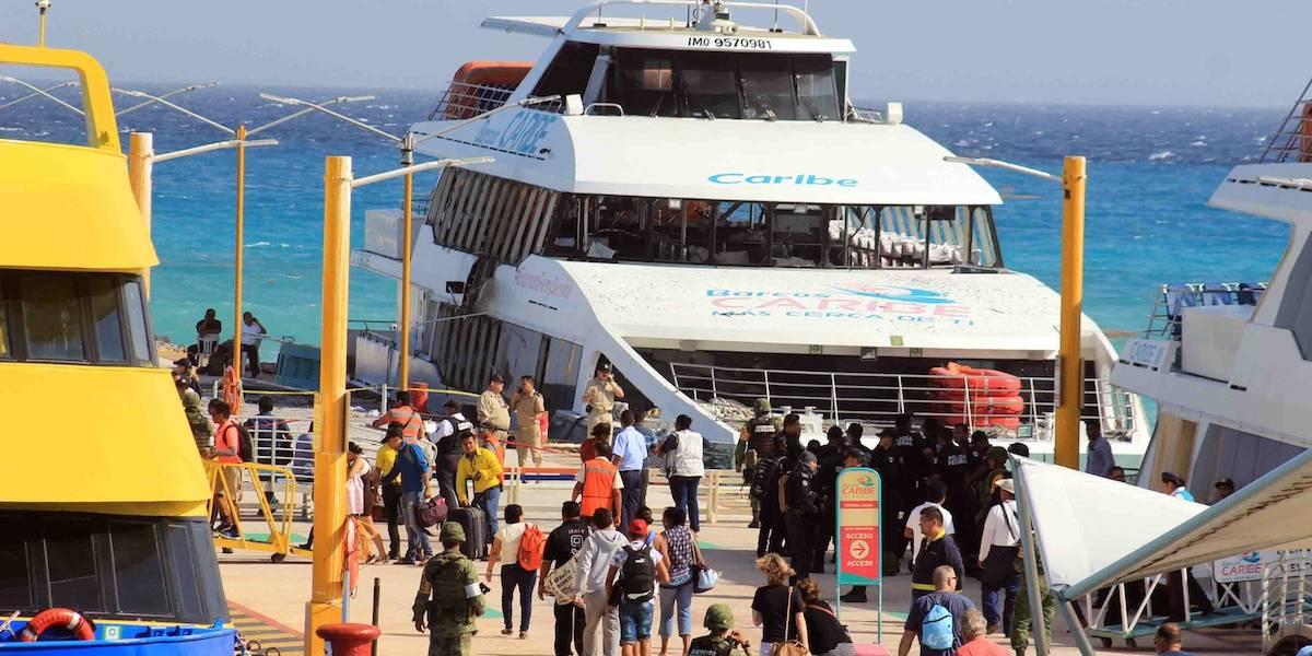 Maleta olvidada causa pánico en muelle de ferrys en Playa del Carmen