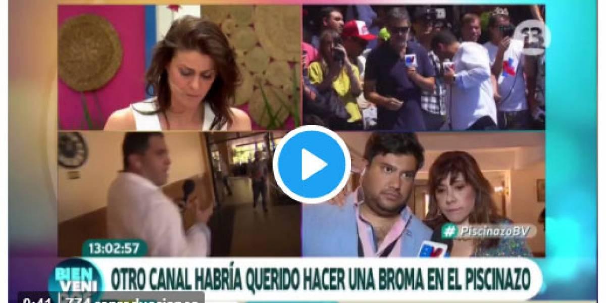 Viña 2018: Escándalo en el piscinazo: Canal 13 acusa intento de funa y saca a productor de TVN de la piscina con seguridad del hotel