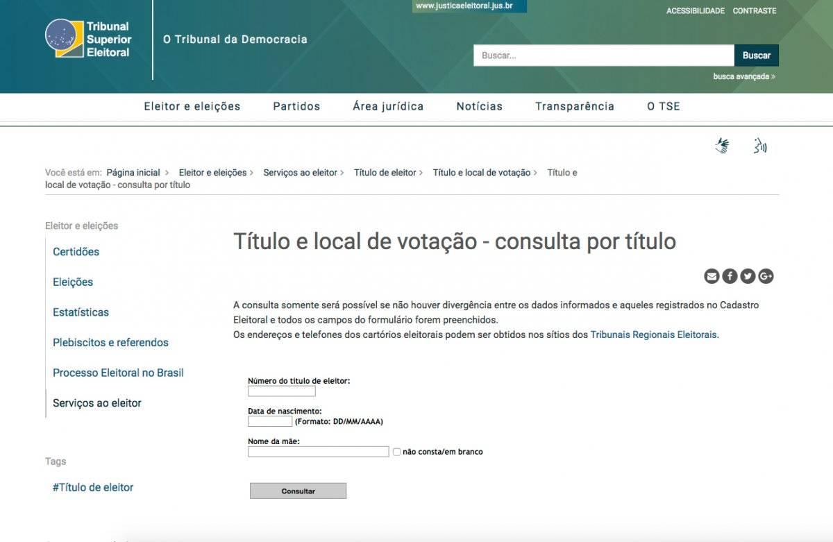 local de votação tse