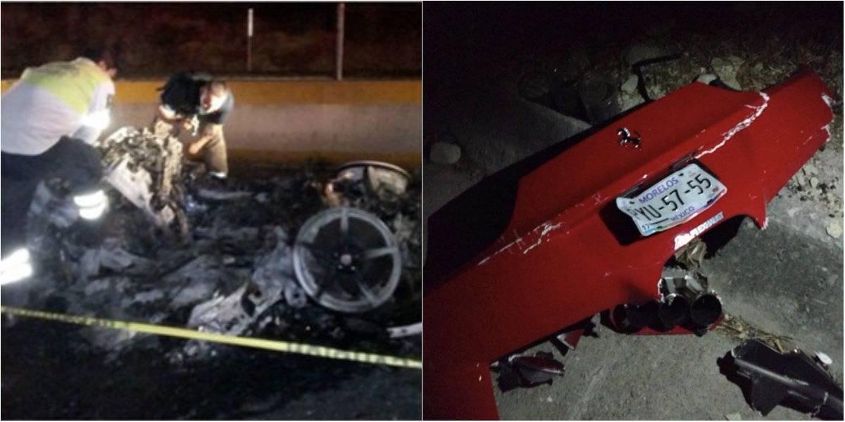 Auto de #LordFerrari queda calcinado tras choque en Autopista del Sol