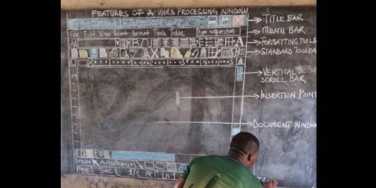 Supera todos los límites: enseña computación a sus alumnos dibujando con tiza en una pizarra todo lo que aparece en la pantalla