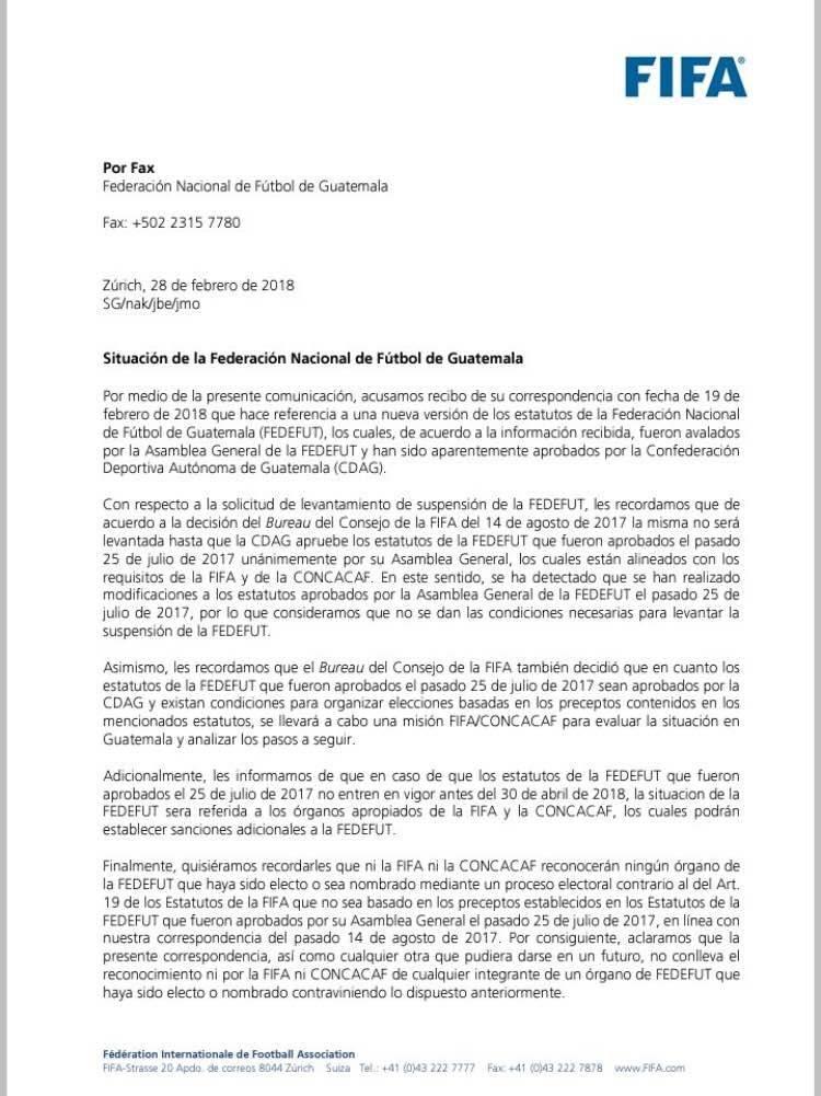 La carta que envió la FIFA