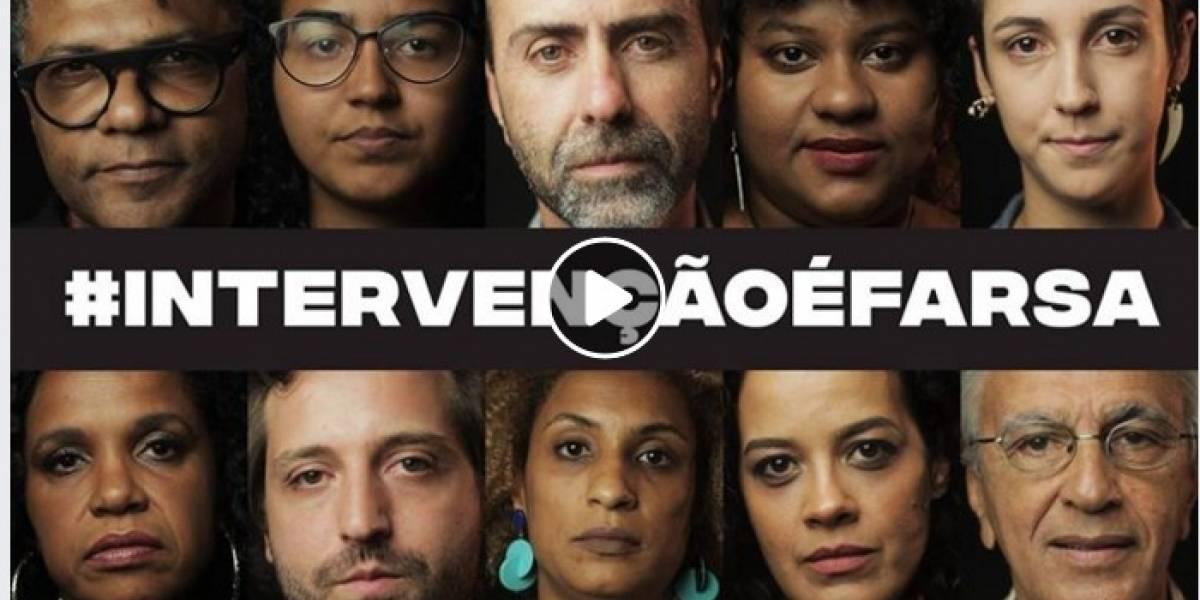 Artistas gravam vídeo contra a intervenção federal no Rio