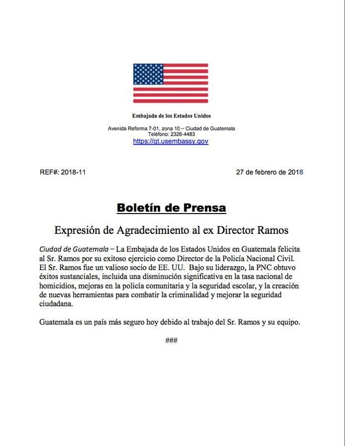 Comunicado de la Embajada de Estados Unidos