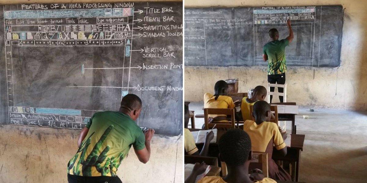 Professor de Gana ensina os alunos a usarem o Word com desenhos na lousa