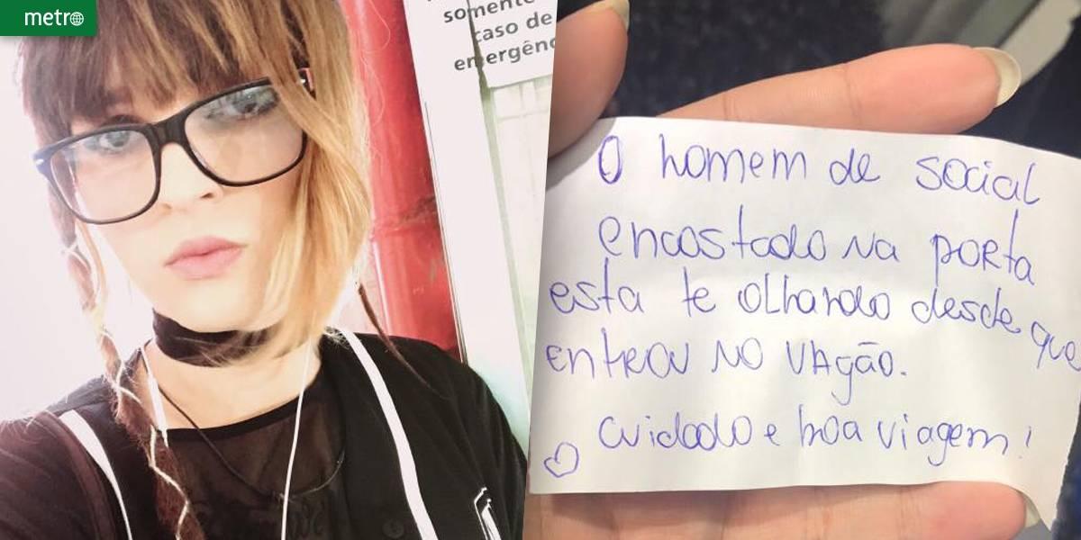 Jovem escapa de possível assédio graças a bilhete com alerta: 'Cuidado'